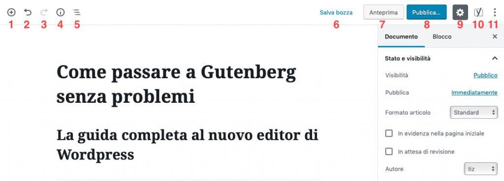 menu Gutenberg