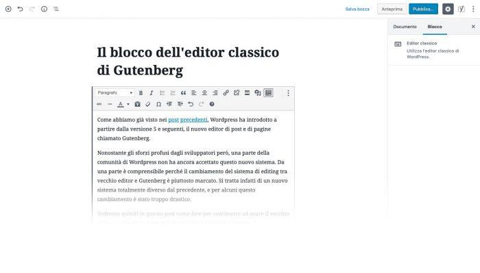 blocco editor classico Gutenberg