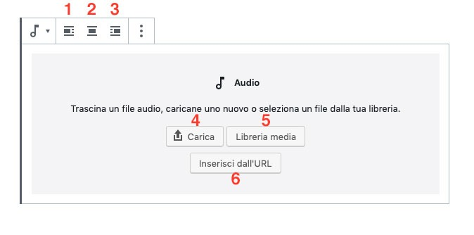 menu audio Gutenberg